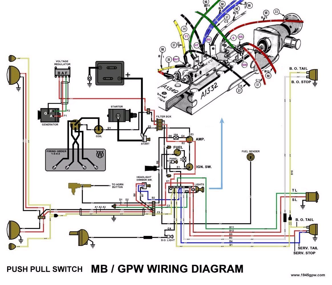 mb jeep wiring diagram mb jeep wiring schematic